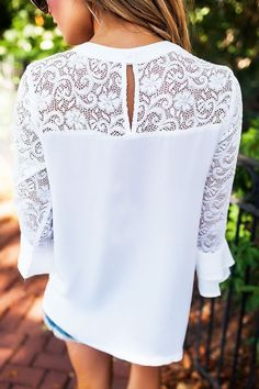 Women O-neck Shirts summer chiffon Lace blouse ladies Casual Loose Tops blusas | eBay