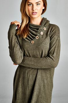 Super Soft Button Cowl Neck Sweater