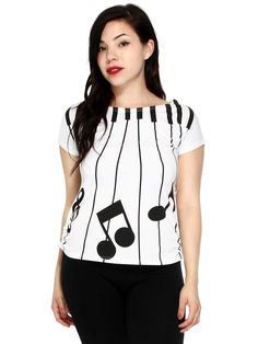 Piano keyboard and musical notes t-shirt/top