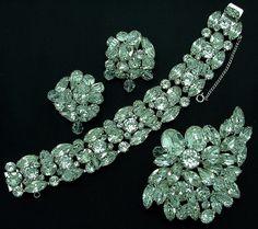 Vintage KRAMER Bracelet Brooch Earrings Rhinestone Full Parure 3pc Set With Crystal Cha-Cha Beads. $250.00, via Etsy.