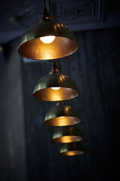 polished copper industrial lights /dark walls / brown dress with white dots