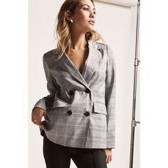Forever 21 12x12 Plaid Double-Breasted Blazer  Grey (€39) ❤ liked on Polyvore featuring outerwear, jackets, blazers, grey, long sleeve blazer, plaid blazer, blazer jacket, tartan blazer and padded shoulder blazer