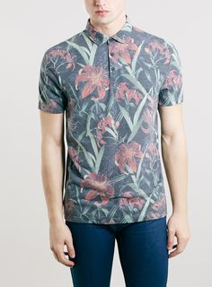 FLORAL LILY POLO SHIRT - Men's Polo Shirts - Clothing - TOPMAN
