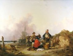 Fisherfolk on the Hampshire Coast by WILLIAM SHAYER SENIOR - Cider House Galleries