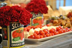Love the idea of using the cans filled with flowers when I put out antipasto platters