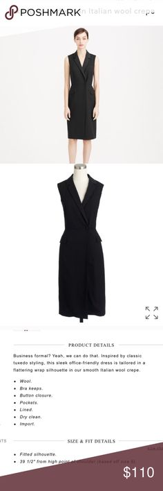 """J.crew tuxedo dress Excellent condition, Like new. Fully lined. Black. Waist is 16"""" J. Crew Dresses Midi"""