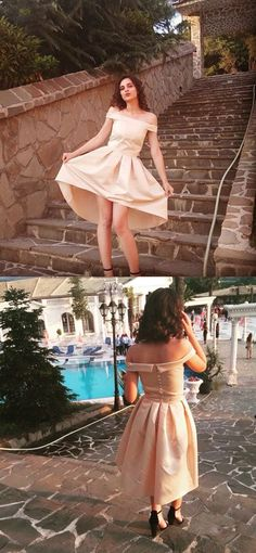 2017 homecoming dress, champagne homecoming dress, off the shoulder homecoming dress, high low homecoming dress, party dress, short homecoming dress