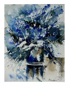 Watercolor Blue Bunch Giclee Print by Ledent at Art.com
