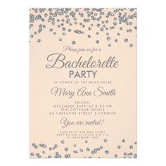 #bachelorette #party #invitations - #Bachelorette Party Silver Glitter Confetti Blush Card