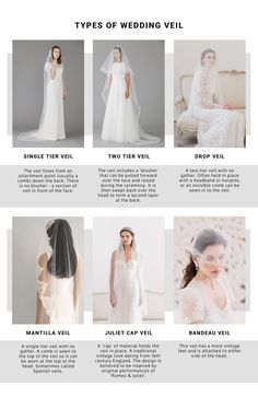 TYPES OF WEDDING VEIL | ROCK MY WEDDING | WEDDING VEIL | WEDDING ACCESSORIES | BRIDAL VEIL | BRIDE VEIL | VEIL FOR BRIDE | LACE VEIL | CATHEDRAL VEIL | TIERED VEIL | BRIDE DRESS | TWO TIER VEIL | DROP VEIL | FLOOR LENGTH VEIL | SHORT VEIL | LACE EDGE VEIL | SATIN EDGE VEIL Bridal Hair Accessories, Bridal Jewelry, Types Of Veils, Wedding Veils, Wedding Dresses, Veil Length, Drop Veil, Blusher, Indian Bridal