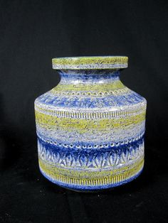 vintage-bitossi-vase-blue-yellow