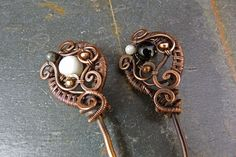 Yin And Yang III  2 Copper Hair / Shawl Pins With Czech Glass - The eclectic forms of these pins combines the contrasting black and white stones with the copper beads. The matching pendant necklace and earrings create an heirloom collection that contains its' own dynamic balance marrying both the yin and the yang.by SkyAndBeyond,