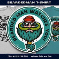 BeardedMan T-Shirt Template PSD, Vector EPS, AI #design Download: http://graphicriver.net/item/beardedman-tshirt/11848698?ref=ksioks