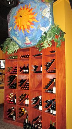 Custom made wine rack at The Black Iron Grill