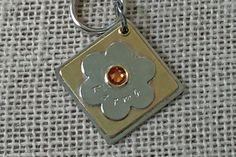 Personalized Pet ID Tag, Flower, Dog Tag, Cat Tag, Metal Tag, Swarovski Crystal by ClaudesPaws2 on Etsy