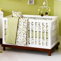 dots and stripes... Baby Mod -  3-in-1 Baby Crib, Amber and White.    This might be the one....