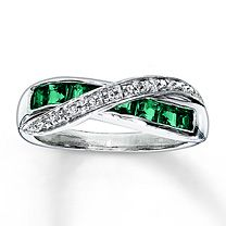 Kay Jewelers Lab-Created Emerald Ring Diamond Accents Sterling Silver- Emerald sooo beautiful, but sadly doesnt come in my size. at least i have an idea of what i want for a ring now! Emerald Ring Vintage, Emerald Jewelry, Silver Jewelry, Emerald Rings, Jewlery, Emerald Band, Bling Jewelry, Silver Ring, Diamond Gemstone