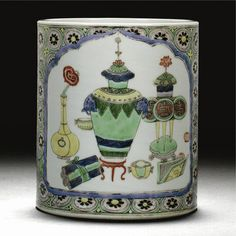 A famille verte brushpot, Qing dynasty, Kangxi period - Alain. Chinese Painting, Chinese Art, Dragon Bowl, Asian Artwork, Oriental, Art Chinois, Chinese Ceramics, Qing Dynasty, Chinese Antiques