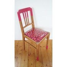 Chaise vintage des années 30 motif Petit Pan rose en bois #chaise #vintage #30 #petit #pan #rose #pink #bois