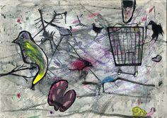 """Dibujo a partir del azar y de la mancha. """"Colección de bichejos"""" Olatz Izaguirre. 1º Bachillerato Artístico. IES. Usandizaga 2014"""