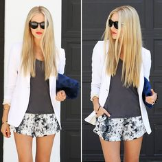 Minimalista #look #looks #streetchic #fashion #moda #streetstyle #short #blazer #clutch