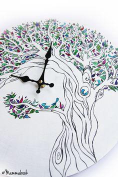 Mammabook: Orologio da parete dipinto a mano - Handpainted wall clock