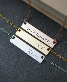 Custom Name Necklace name bar Necklace by earringsnation on Etsy