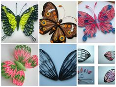 Quilling butterflies draw a sketch of the wing, cut out and put on a soft mat On the basis of photo №2,3,4 wings made ​​of three strips , each strip I lengthened to 90 cm. The wings