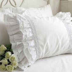 Luxury White Victorian Bridal French Shabby Chic Cottage Eyelet Lace Love Multi Ruffle Pillow Sham Pair