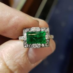 Antique emerald and