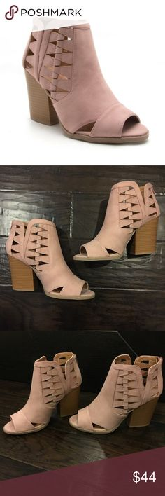 """Blush Cut Out Booties So cute! Blush pink suede booties with cut out detail. Easy on/off back zipper. Low and comfortable 3"""" heel. Runs true to size. Viscosity Shoes Ankle Boots & Booties"""