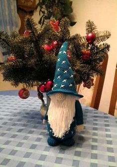 """In this free Amigurumi guide, I& show you how to crochet """"Magnus Magicus"""" the spellcaster. Magnus is a charming Bearded Wic - Love Amigurumi- Crochet Christmas Decorations, Crochet Decoration, Christmas Crochet Patterns, Easy Christmas Crafts, Christmas Gnome, Simple Christmas, Xmas, Christmas Ornaments, Christmas Wreaths"""