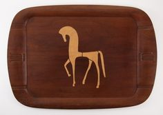 Tray - using 4012-8 Horse stencil from the Mid-Century Modern stencil series