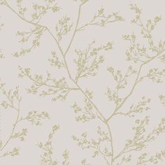 Sample Springtime Wallpaper in Beige and Gold from the Pure Collection by Graham & Brown