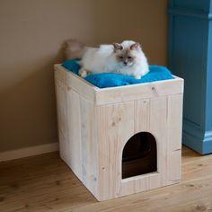Kattenbak ombouw van steigerhout Cat Hotel, Cat House Diy, Puppy House, Cat Care Tips, Pet Tips, Dog Care, Animal Room, Cat Enclosure, Pet Furniture