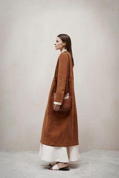 Tan suede coat // The Row Pre-Fall '15