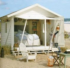 Introducing She Sheds: Women's Answer To The Man Cave cabane bord de plage Outdoor Spaces, Outdoor Living, Outdoor Decor, Outdoor Office, Tiki Hut, Woman Cave, She Sheds, Beach Shack, The Design Files