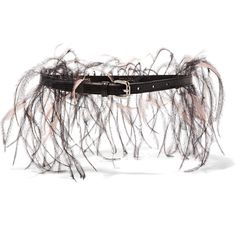 Emilio Pucci - Feather-embellished Lizard-effect Leather Belt (9,240 THB) ❤ liked on Polyvore featuring accessories, belts, black, real leather belts, emilio pucci, lizard belt, feather belt and leather belt
