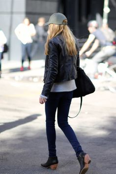 First, there's the ever popular ankle boots, and these happen to be fantastic. Second, there's the plain ball cap, which is a great look if you can pull it off.