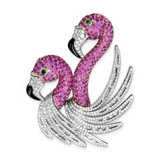 Flamingo brooch in pink sapphires and tsavorites by Georland