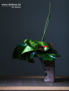 Sogetsu Ikebana with only leaves