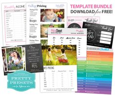 8 Essential Freebies for Your Photography Business.  Includes: Monthly Income Worksheet, Package Pricing, Mini Session Marketing Template, Mini Session Checklist, Gift Card (Chalkboard), Gift Card (Hearts), Price Sheet for Clients and Prints Pricing Template.