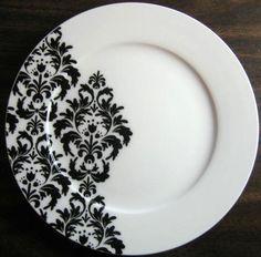Decorative Dishes - Black on White Delicate Wallpaper Damask Motif Porcelain Plate M, $19.99 (http://www.decorativedishes.net/black-on-white-delicate-wallpaper-damask-motif-porcelain-plate-m/)