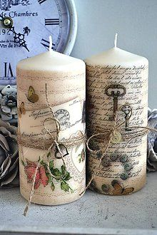 Svietidlá a sviečky - Duo vintage sviečok - 5793363_ Homemade Candles, Diy Candles, Pillar Candles, Diy Home Crafts, Diy Arts And Crafts, Decoupage, Dollar Tree Wedding, Christmas Crafts, Christmas Decorations