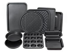 Perlli 10Piece NonStick Bakeware Set Oven Crisper Pizza Tray Roasting Loaf Muffin Square 2 Round Cake Baking Pans Large and Medium Nonstick Cookie Sheet Bake Ware for Home Kitchen Use -- Want additional info? Click on the image.