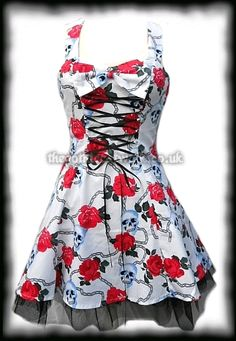 Pretty White Cotton Dress with Skulls & Roses from The Gothic Catwalk