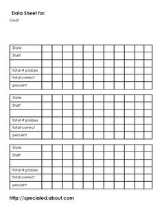 Data collection templates for IEP goals.