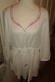 Free People Drawstring waist Blouse Top embroidery White/Silver metallic SZ L #FreePeople #Blouse #All