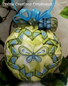 Lime Green & Aqua Mod Butterfly Quilted by MyPrairieCreations, $15.00 - Inspiration, could embroider the printed pattern