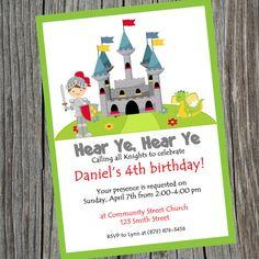 Knight Party Birthday Invitation. Printable Knight by cohenlane, $8.00